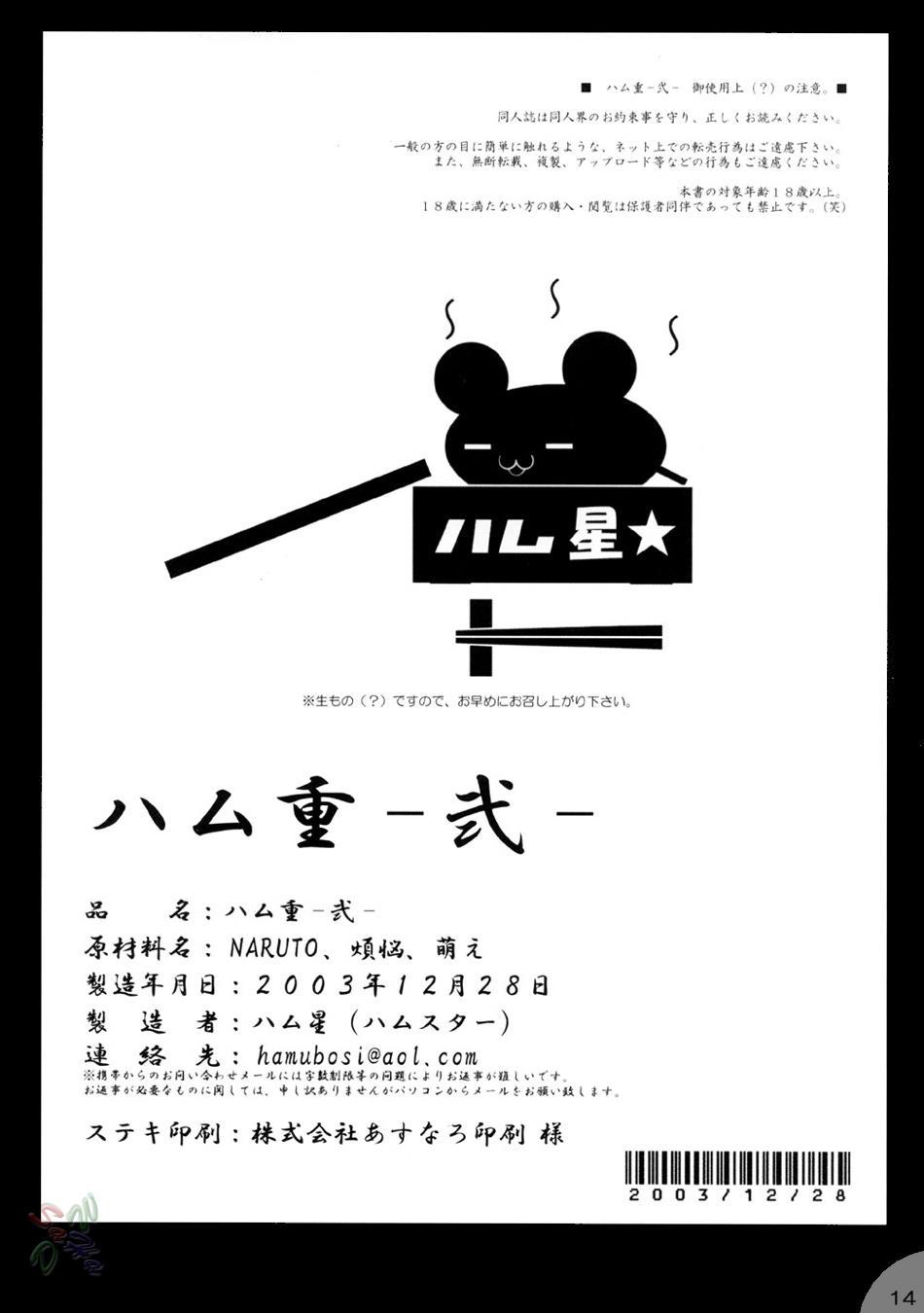 (C65) [Hamustar (Hayami Osamu, Tantan)] Hamu-juu -Ni- (Naruto) [English] [SaHa] 13